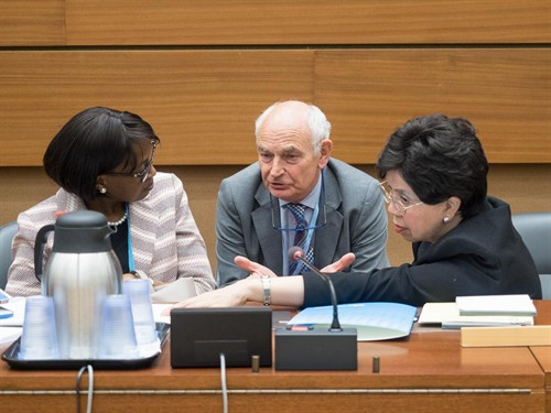 Professor Molyneux talking to the WHO DG, Dr Margaret Chan, and WHO Regional Director for Africa, Dr Matshidiso Moeti