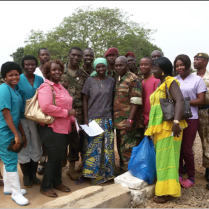 Staff from the Ebola Survivors Clinic, in Freetown, Sierra Leone