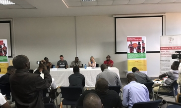 Presentation of the Health Goals Malawi project during the press conference in Blantyre, Malawi