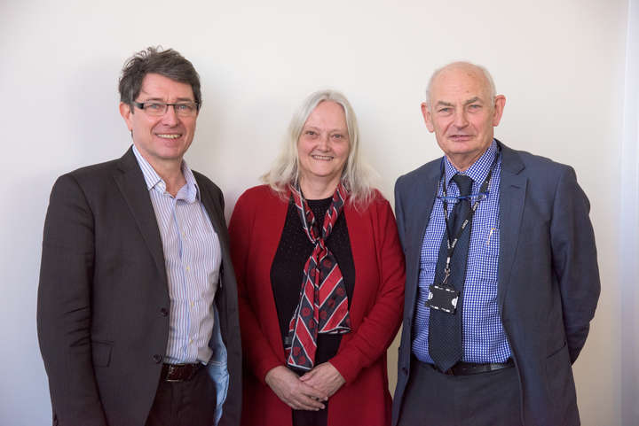 Dr Dirk Engels (left) with LSTM Director Professor Janet Hemingway and Emeritus Professor David Molyneux (right)