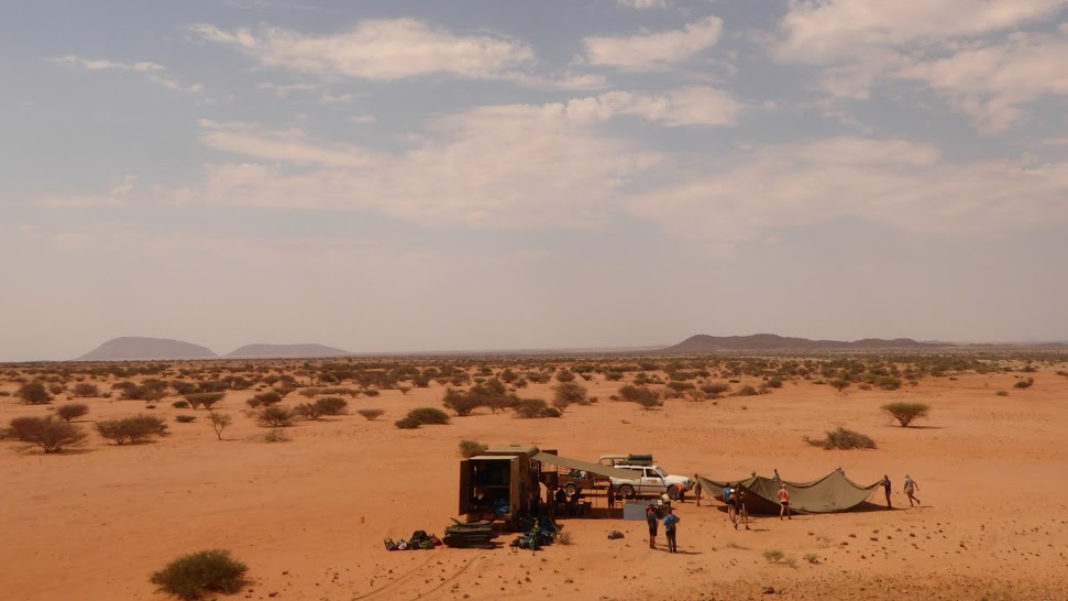Setting up camp in Namibia