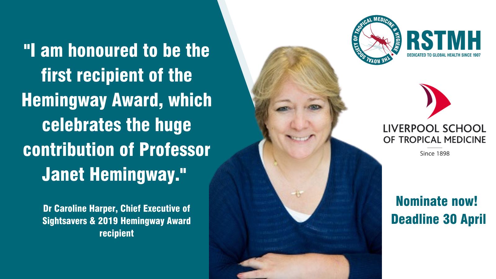 2019 Hemingway Award recipient Dr Caroline Harper, Chief Executive of Sightsavers