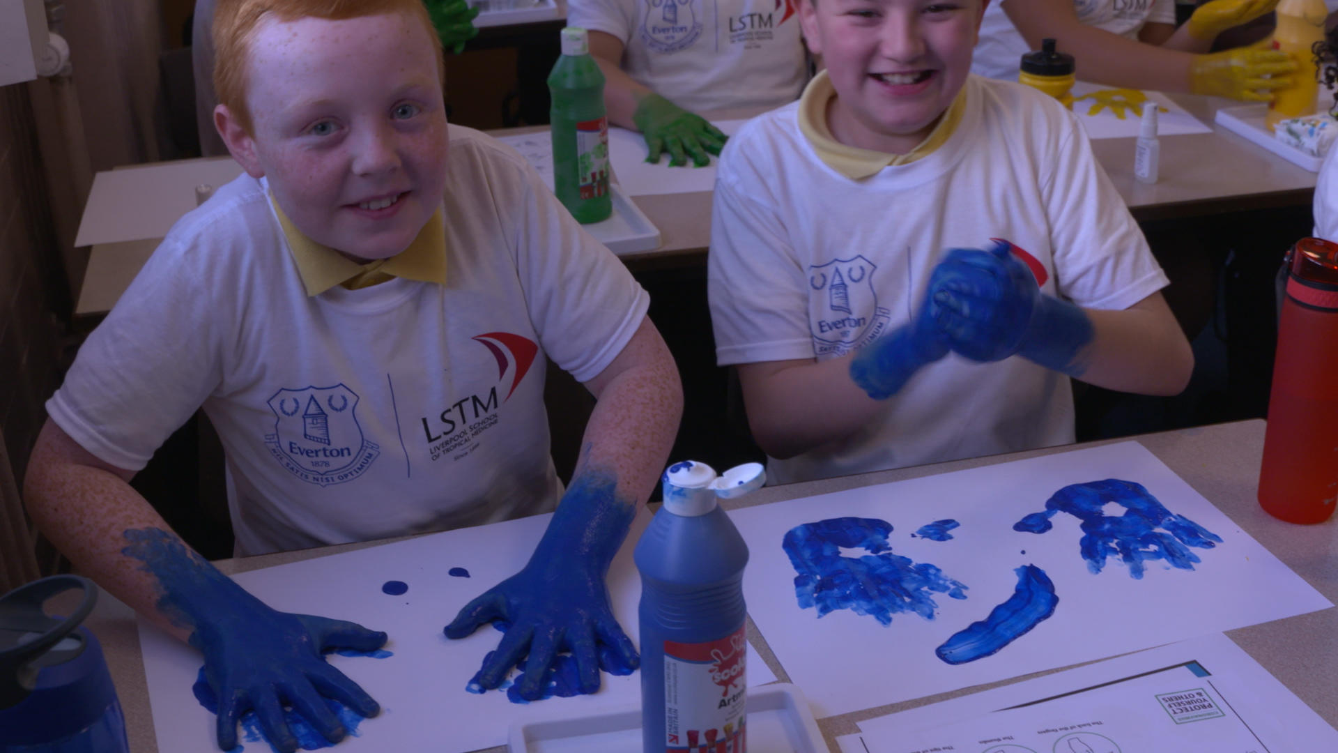 Wavertree Church of England pupils washing hands activity