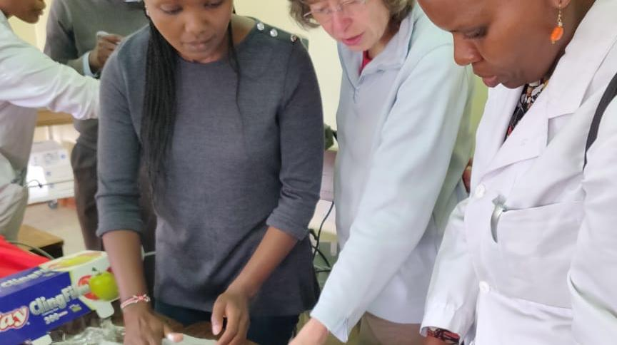 Wanjiku and Ingeborg using available resources to demonstrate the use of Ultrasound in vascular access and biopsy training (chicken breasts with olives hidden inside!)