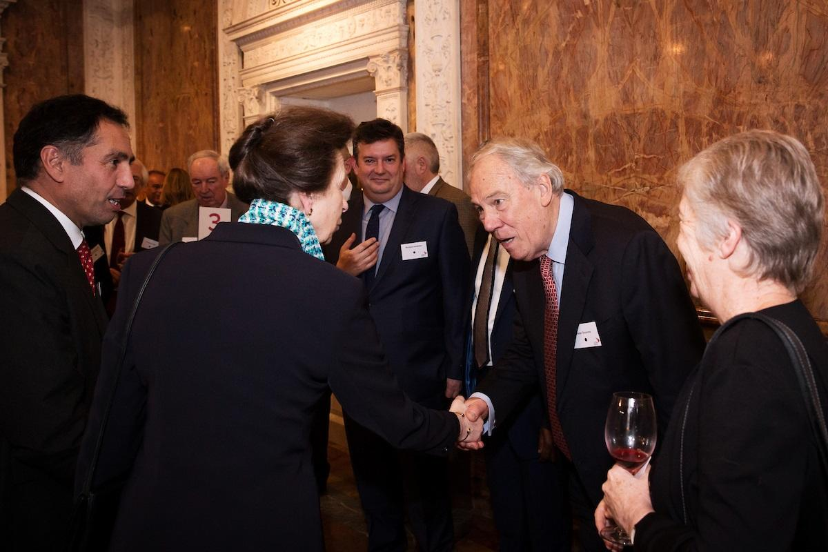 Peter Sissons greets LSTM patron HRH Princess Royal