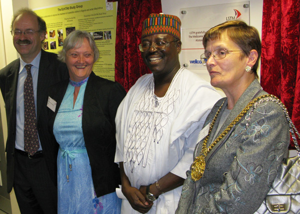 Sir Mark Walport, Janet Hemingway, Hazel Williams and Abdulsalami Nasidi