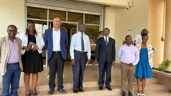 Strategy meeting (L-R: Prof Moffat Nyirenda, Dr Mina Nakawuka, Prof Shabbar Jaffar, Dr Gerald Mutungi and Joshua Musinguzi from MoH, Dr Francis Xavier Kasujja, Dr Josephine Birungi)