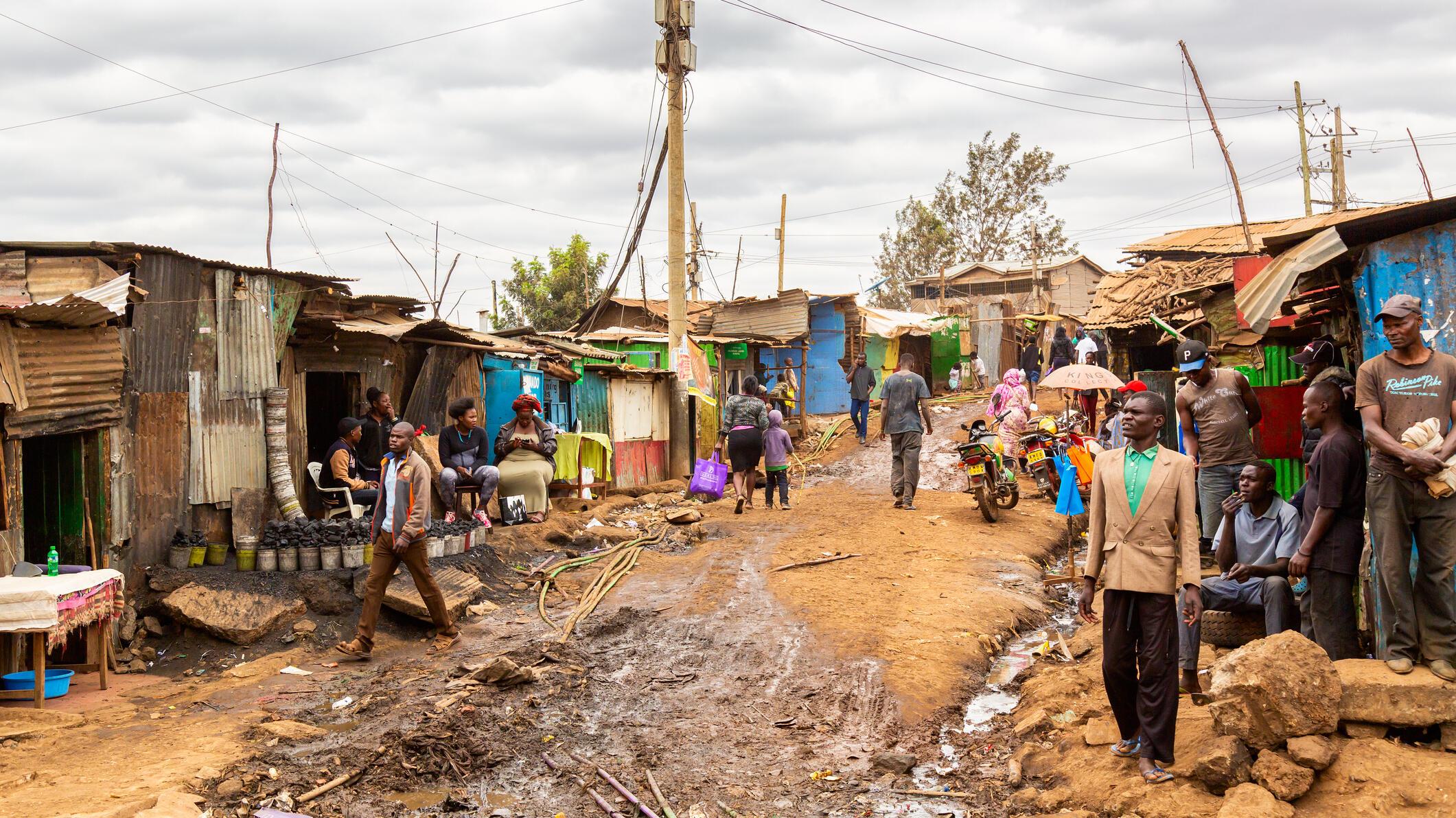 Nairobi, Kenya - August, 2019: Kibera slum in Nairobi in summer. Kibera is the biggest slum in Africa. Slums in Nairobi, Kenya