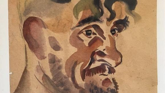"""Charlie"" Thailand 1944, watercolour portrait by Private Ashley George Old, 5th Sherwood Forresters © Bartholomew family"
