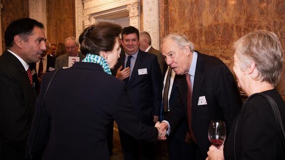 Peter Sissons greets LSTM patron HRH Princess Royal