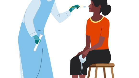 Illustration of a researcher taking an oral swab from a participant