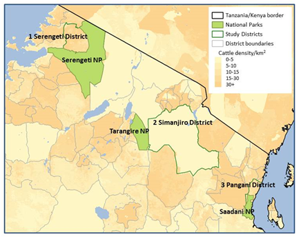 Figure 1. Location of research areas in northern Tanzania.